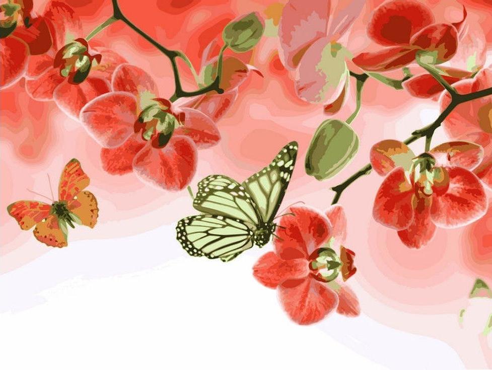 «Бабочки и красные орхидеи»Цветной (Standart)<br><br><br>Артикул: EX5262_Z<br>Основа: Холст<br>Сложность: средние<br>Размер: 30x40 см<br>Количество цветов: 25<br>Техника рисования: Без смешивания красок