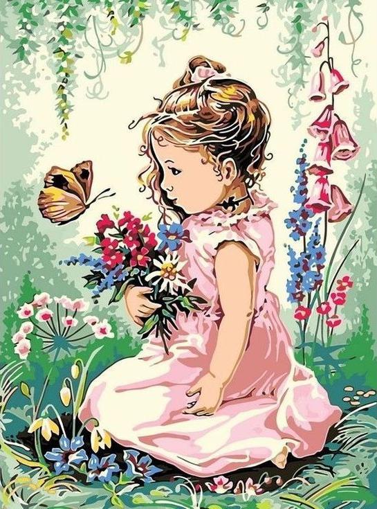 Картина по номерам «Девочка и бабочка»Цветной (Standart)<br><br><br>Артикул: EX5271_Z<br>Основа: Холст<br>Сложность: средние<br>Размер: 30x40 см<br>Количество цветов: 24<br>Техника рисования: Без смешивания красок