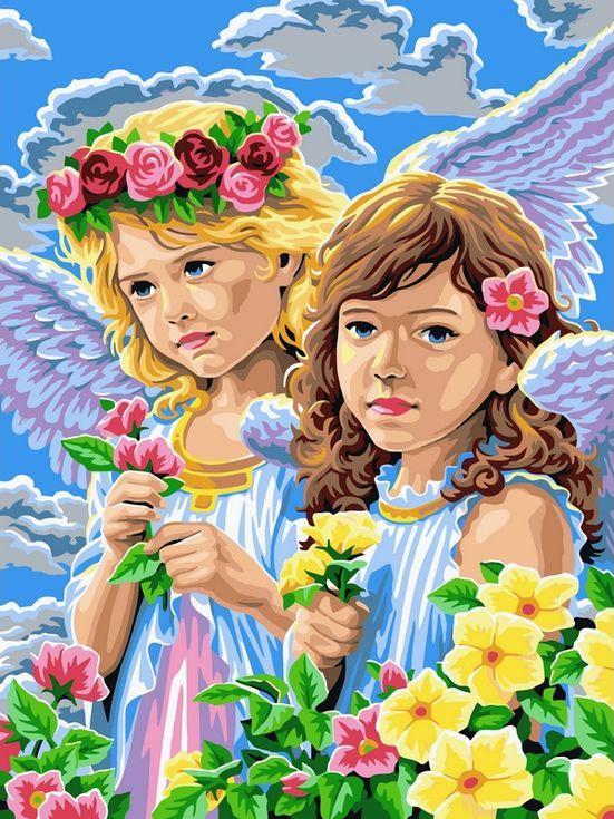 Картина по номерам «Девочки-ангелы»Цветной (Standart)<br><br><br>Артикул: EX5272_Z<br>Основа: Холст<br>Сложность: сложные<br>Размер: 30x40 см<br>Количество цветов: 25<br>Техника рисования: Без смешивания красок