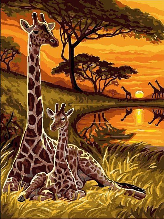 «Жирафы»Цветной (Standart)<br><br><br>Артикул: EX5287_Z<br>Основа: Холст<br>Сложность: сложные<br>Размер: 30x40 см<br>Количество цветов: 25<br>Техника рисования: Без смешивания красок