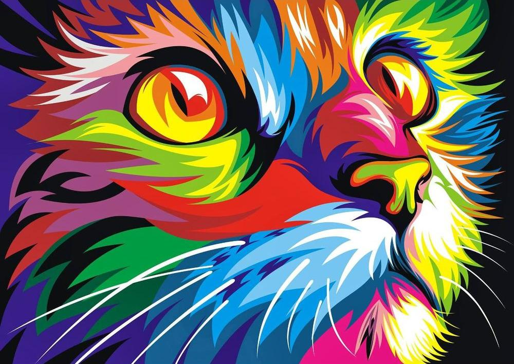 «Радужный кот» Ваю РомдониЦветной (Standart)<br><br><br>Артикул: EX5290_Z<br>Основа: Холст<br>Сложность: сложные<br>Размер: 30x40 см<br>Количество цветов: 25<br>Техника рисования: Без смешивания красок
