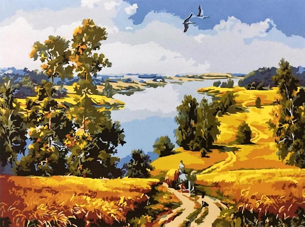 Картина по номерам «Деревенская дорога» Марии ГордеевойPaintboy (Premium)<br><br><br>Артикул: GX9578<br>Основа: Холст<br>Сложность: средние<br>Размер: 40x50 см<br>Количество цветов: 25<br>Техника рисования: Без смешивания красок