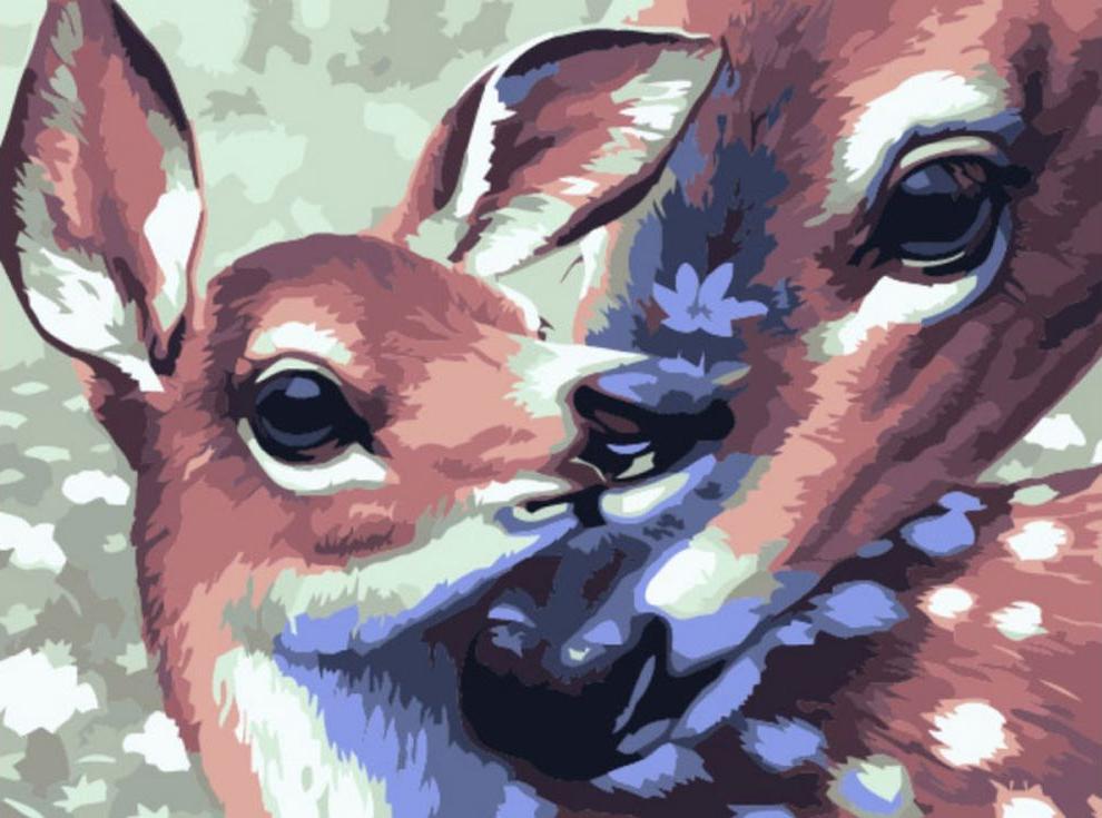 Картина по номерам «Семья оленей» Ричарда КаудриPaintboy (Premium)<br><br><br>Артикул: EX5505<br>Основа: Холст<br>Сложность: сложные<br>Размер: 30x40 см<br>Количество цветов: 25<br>Техника рисования: Без смешивания красок