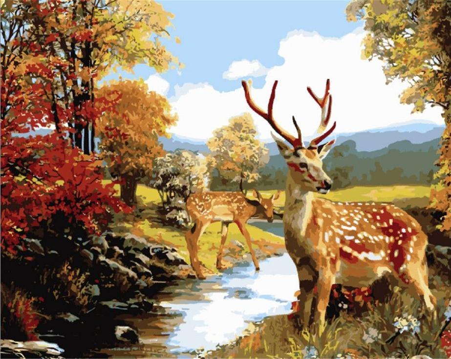 Картина по номерам «Олени у ручья»Цветной (Standart)<br><br><br>Артикул: GX6035_Z<br>Основа: Холст<br>Сложность: сложные<br>Размер: 40x50 см<br>Количество цветов: 25<br>Техника рисования: Без смешивания красок