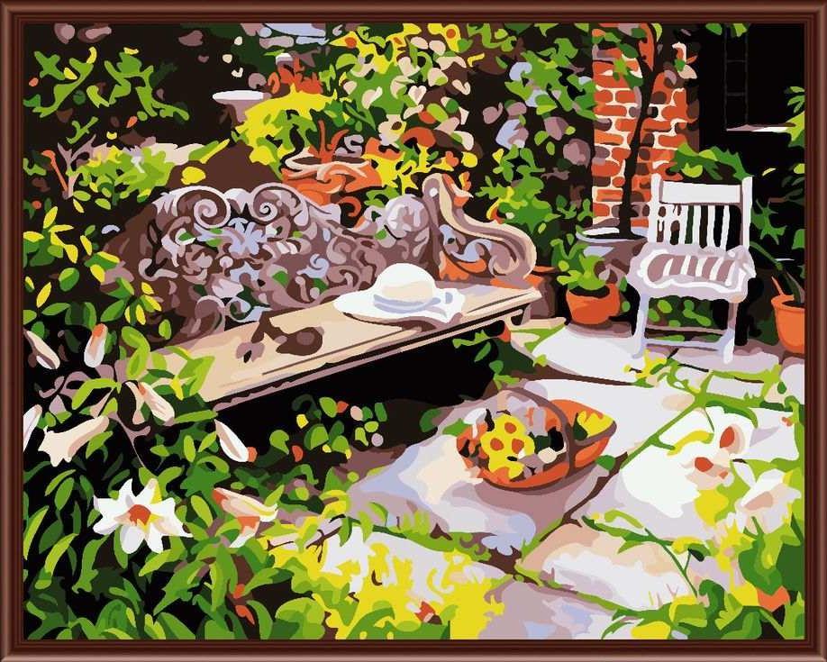 «Уютный садик» Жанет КрускампЦветной (Standart)<br><br><br>Артикул: GX6096_Z<br>Основа: Холст<br>Сложность: сложные<br>Размер: 40x50 см<br>Количество цветов: 25<br>Техника рисования: Без смешивания красок