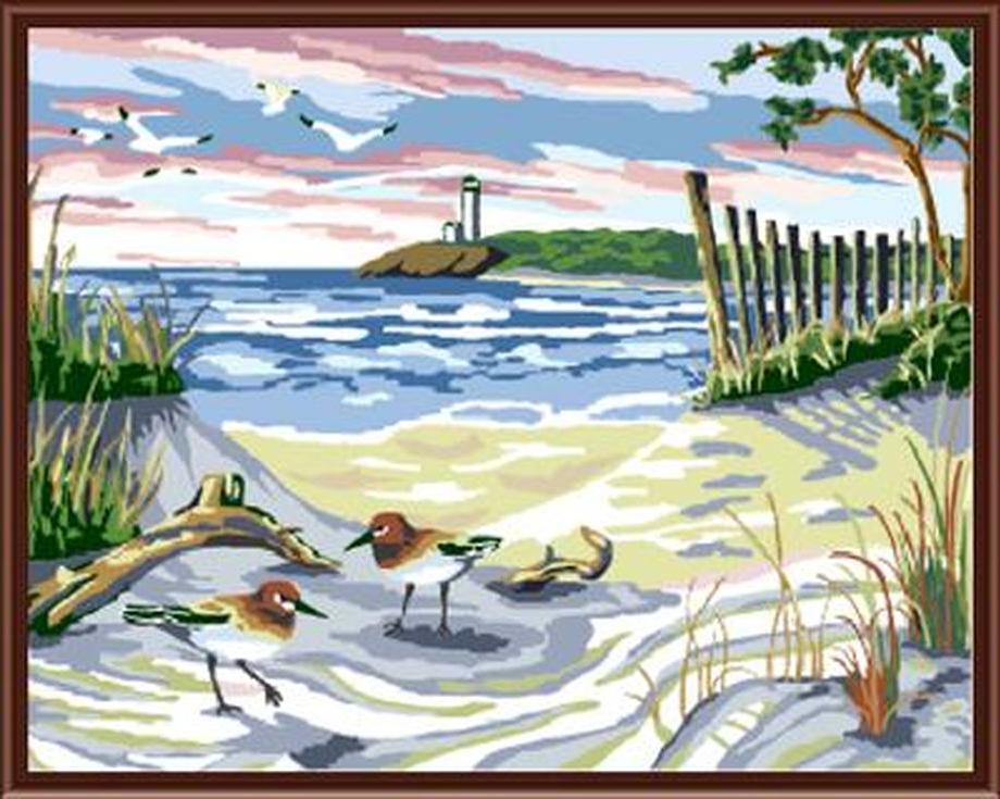 «На берегу моря»Цветной (Standart)<br><br><br>Артикул: GX6159_Z<br>Основа: Холст<br>Сложность: сложные<br>Размер: 40x50 см<br>Количество цветов: 25<br>Техника рисования: Без смешивания красок