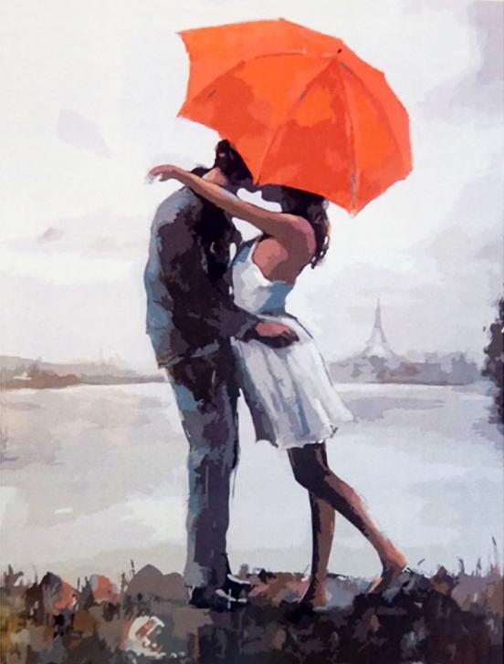 Картина по номерам «Поцелуй под зонтом»