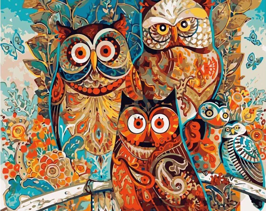 Картина по номерам «Совы» Дэвида ГалхатаPaintboy (Premium)<br><br><br>Артикул: GX8849<br>Основа: Холст<br>Сложность: средние<br>Размер: 40x50 см<br>Количество цветов: 25<br>Техника рисования: Без смешивания красок