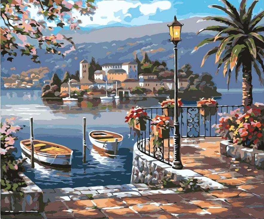 «Итальянская гавань» Сен КимаЦветной (Premium)<br><br><br>Артикул: MG6192_Z<br>Основа: Холст<br>Сложность: сложные<br>Размер: 40x50 см<br>Количество цветов: 25<br>Техника рисования: Без смешивания красок