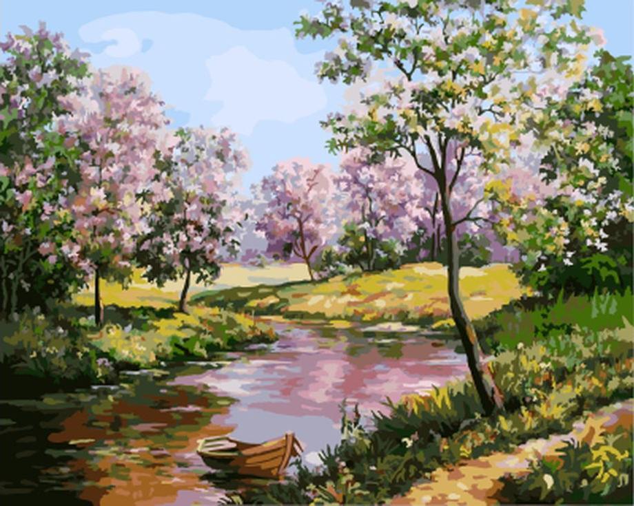Картина по номерам «Живописное озеро» Марии Гордеевой