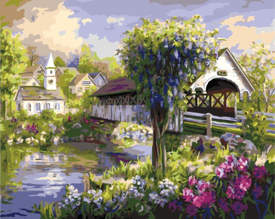 «Живописный мост» Ники БоэмЦветной (Standart)<br><br><br>Артикул: GX9553_Z<br>Основа: Холст<br>Сложность: средние<br>Размер: 40x50 см<br>Количество цветов: 27<br>Техника рисования: Без смешивания красок