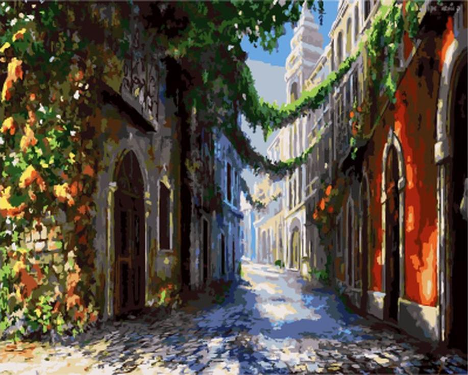 Картина по номерам «Тихий переулок»Цветной (Standart)<br><br><br>Артикул: GX9570_Z<br>Основа: Холст<br>Сложность: сложные<br>Размер: 40x50 см<br>Количество цветов: 25<br>Техника рисования: Без смешивания красок