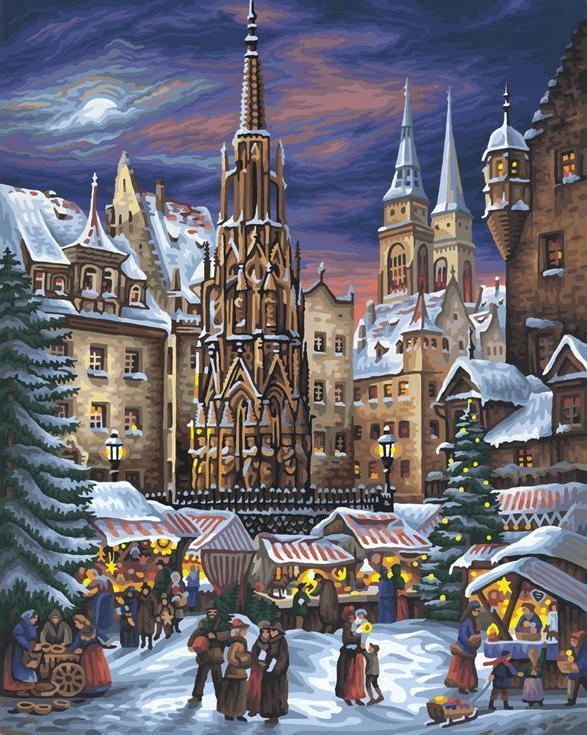 «Рождественские гуляния»Цветной (Standart)<br><br><br>Артикул: GX9599_Z<br>Основа: Холст<br>Сложность: сложные<br>Размер: 40x50<br>Количество цветов: 25<br>Техника рисования: Без смешивания красок