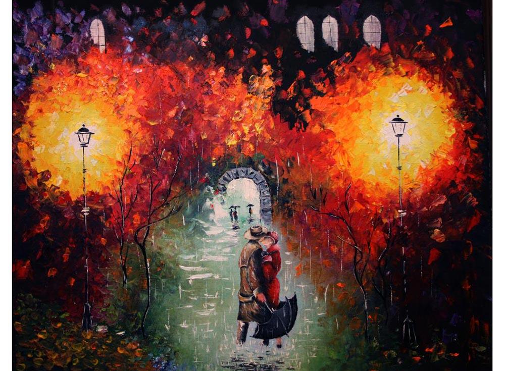 Картина по номерам «Свидание под дождем» Николая ПахомоваРаскраски по номерам Paintboy (Original)<br><br><br>Артикул: GX9971_R<br>Основа: Холст<br>Сложность: средние<br>Размер: 40x50 см<br>Количество цветов: 26<br>Техника рисования: Без смешивания красок