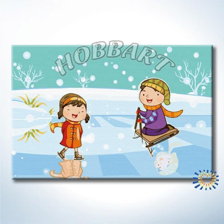«Зимние забавы»Hobbart<br><br><br>Артикул: HB2030020<br>Основа: Холст<br>Сложность: средние<br>Размер: 20x30 см<br>Количество цветов: 21<br>Техника рисования: Без смешивания красок