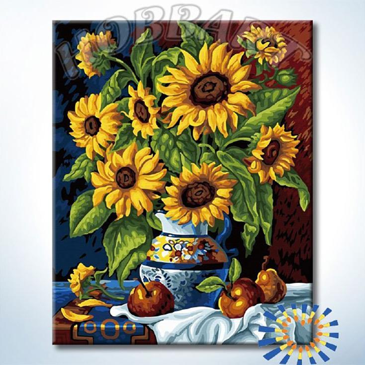 Картина по номерам «Натюрморт с подсолнухами»Hobbart<br><br><br>Артикул: HB4050376<br>Основа: Холст<br>Сложность: средние<br>Размер: 40x50 см<br>Количество цветов: 29<br>Техника рисования: Без смешивания красок