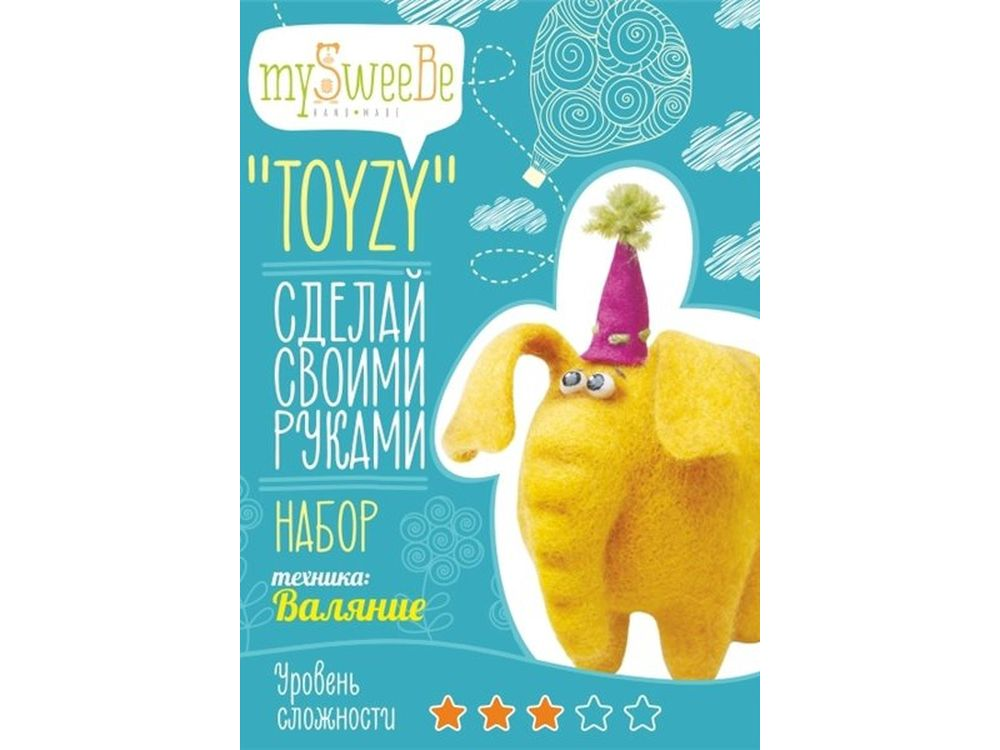 Набор Toyzy «Цирковой слон»Валяние игрушек<br>Игрушка, изготовленная своими руками для ребенка или любимого человека, - один из самых трогательных и бережно хранимых подарков. Наборы TOYZY позволяют воплотить смелые желания по рукоделию в жизнь без затрат времени на поиск нужных матери...<br><br>Артикул: TZ-F003<br>Сложность: сложные<br>Размер: 13x12 см<br>Тип шерсти: Новозеландская кардочесанная шерсть<br>Техника: Валяние