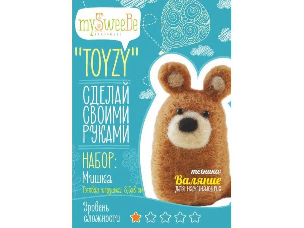 Набор Toyzy «Мишка»Валяние игрушек<br>Игрушка, изготовленная своими руками для ребенка или любимого человека, - один из самых трогательных и бережно хранимых подарков. Наборы TOYZY позволяют воплотить смелые желания по рукоделию в жизнь без затрат времени на поиск нужных матери...<br><br>Артикул: TZ-F011<br>Сложность: очень легкие<br>Размер: 3,5x8 см<br>Тип шерсти: Новозеландская кардочесанная шерсть<br>Техника: Валяние для начинающих