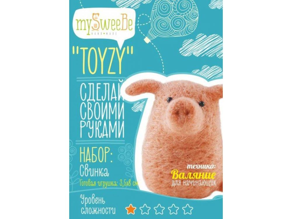 Набор Toyzy «Свинка»Валяние игрушек<br>Игрушка, изготовленная своими руками для ребенка или любимого человека, - один из самых трогательных и бережно хранимых подарков. Наборы TOYZY позволяют воплотить смелые желания по рукоделию в жизнь без затрат времени на поиск нужных матери...<br><br>Артикул: TZ-F012<br>Сложность: очень легкие<br>Размер: 3,5x8 см<br>Тип шерсти: Новозеландская кардочесанная шерсть<br>Техника: Валяние для начинающих