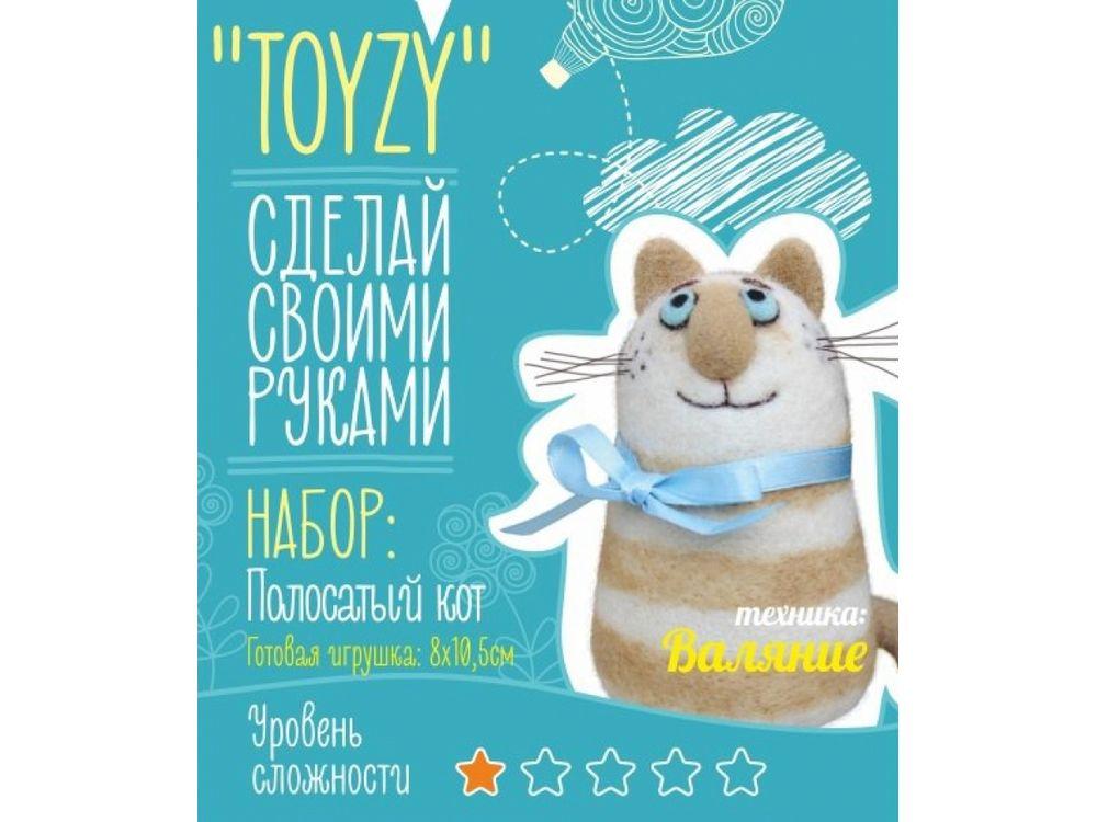Набор Toyzy «Полосатый кот»Валяние игрушек<br>Игрушка, изготовленная своими руками для ребенка или любимого человека, - один из самых трогательных и бережно хранимых подарков. Наборы TOYZY позволяют воплотить смелые желания по рукоделию в жизнь без затрат времени на поиск нужных матери...<br><br>Артикул: TZ-F018<br>Сложность: очень легкие<br>Размер: 8x10,5 см<br>Тип шерсти: Новозеландская кардочесанная шерсть<br>Техника: Валяние