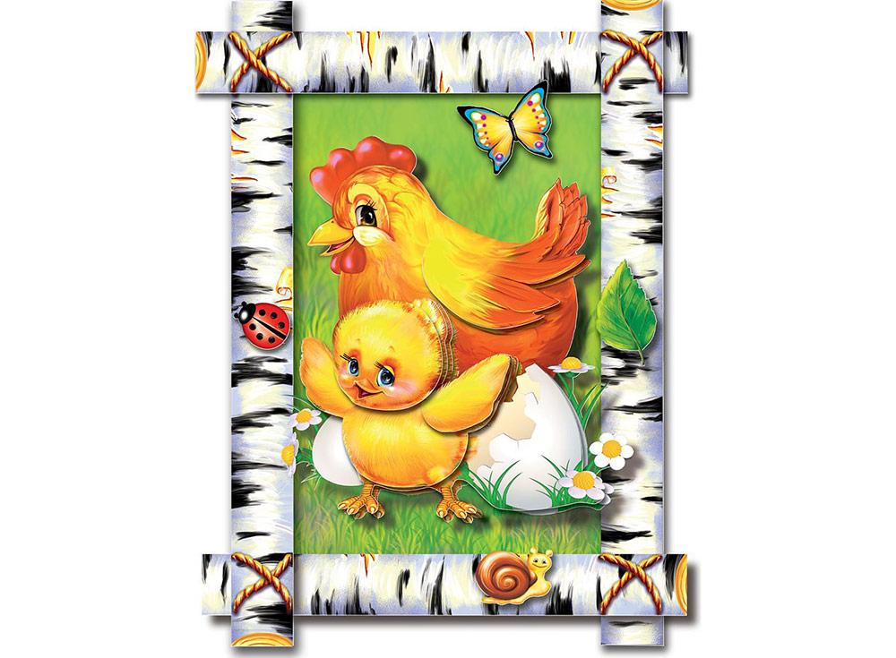 Объемная картина «С добрым утром, цыпленок!»Клевер<br>Набор для создания объемной картины «С добрым утром, цыпленок!» полностью укомплектован для творчества.<br> <br> Комплектация:<br>  - набор цветных заготовок из плотной бумаги;<br>  - картонная картинка-фон;<br>  - комплект квадратов объемного двухстороннего скотча...<br><br>Артикул: АБ21-001<br>Основа: Картон<br>Размер: 21x16 см