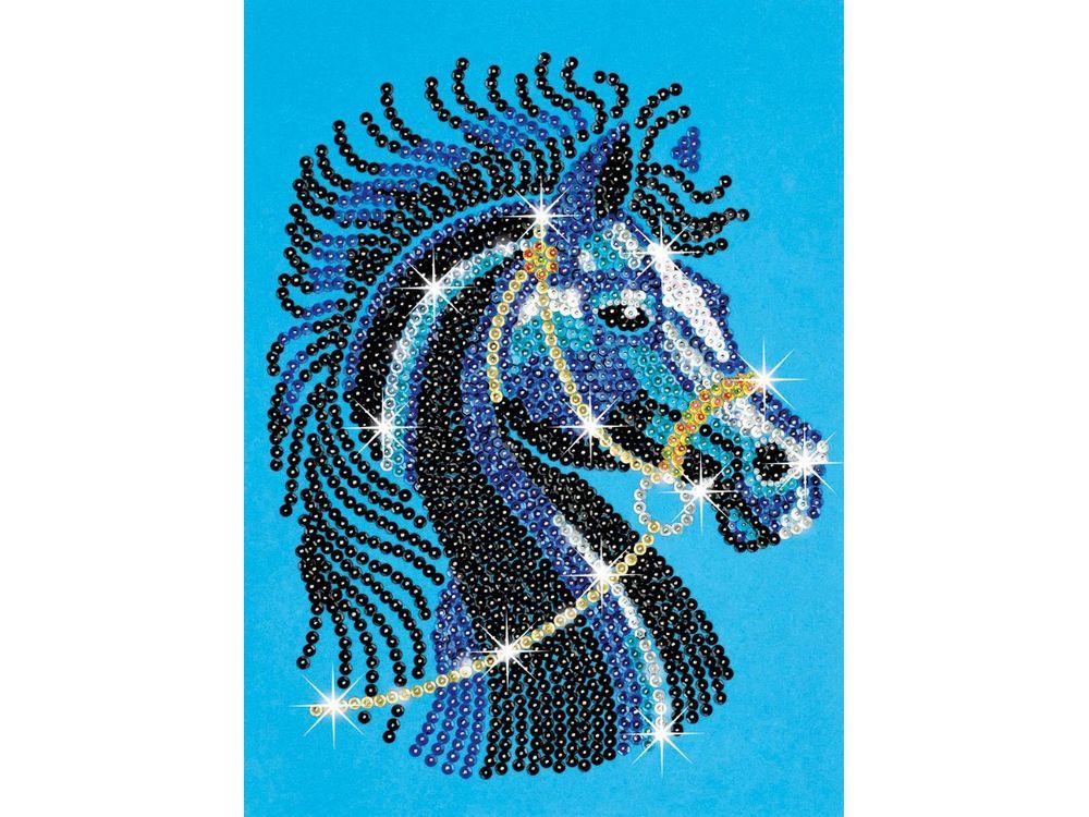 Мозаика из пайеток и бусин «Черная лошадь»Мозаика из пайеток<br><br><br>Артикул: 1004<br>Основа: Планшет из пенопласта<br>Размер: 25х34 см<br>Возраст: от 8 лет