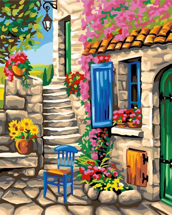 Картина по номерам «Уютный дворик»KSG<br><br><br>Артикул: 1105<br>Основа: Картон<br>Сложность: средние<br>Размер: 40x50 см<br>Количество цветов: 30<br>Техника рисования: Со смешиванием красок