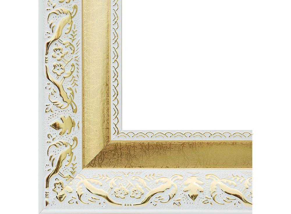Рамка для картин «Patricia»Багетные рамки<br><br><br>Артикул: 1245-BL<br>Размер: 30x40 см<br>Цвет: Белый и золото<br>Ширина: 58 мм<br>Материал багета: Пластик