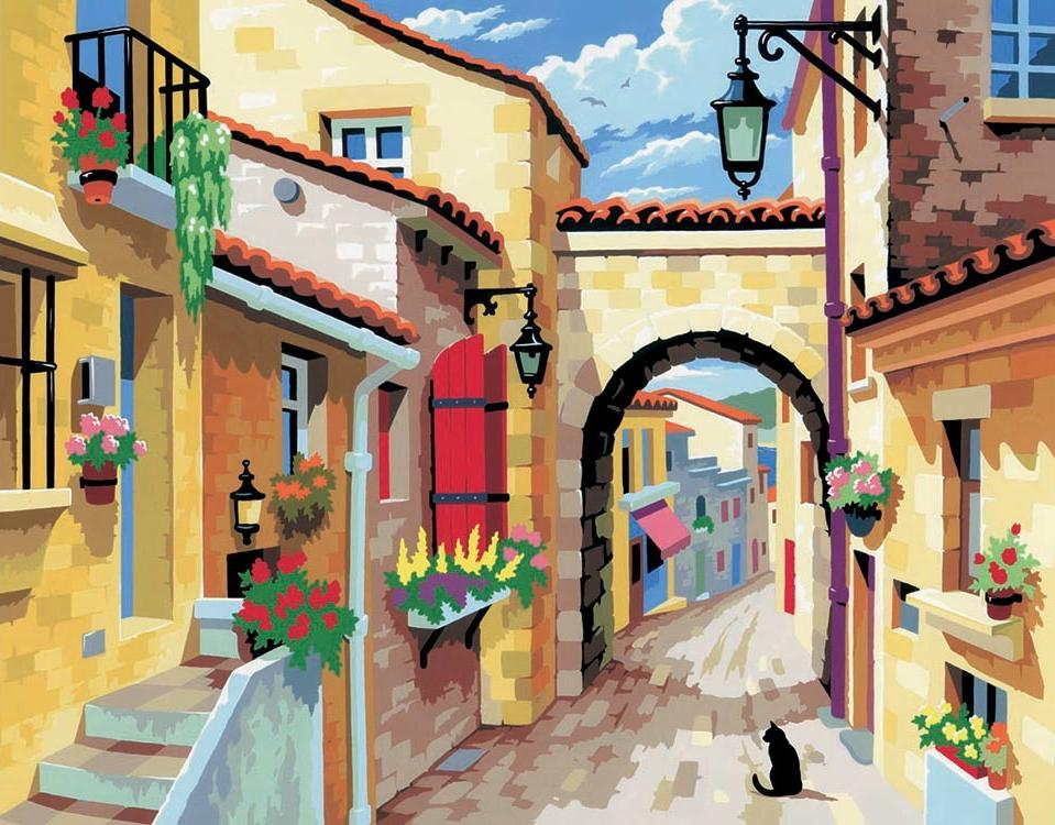 Картина по номерам «Городской пейзаж»KSG<br><br><br>Артикул: 129<br>Основа: Картон<br>Сложность: легкие<br>Размер: 28x36 см<br>Количество цветов: 12<br>Техника рисования: Со смешиванием красок