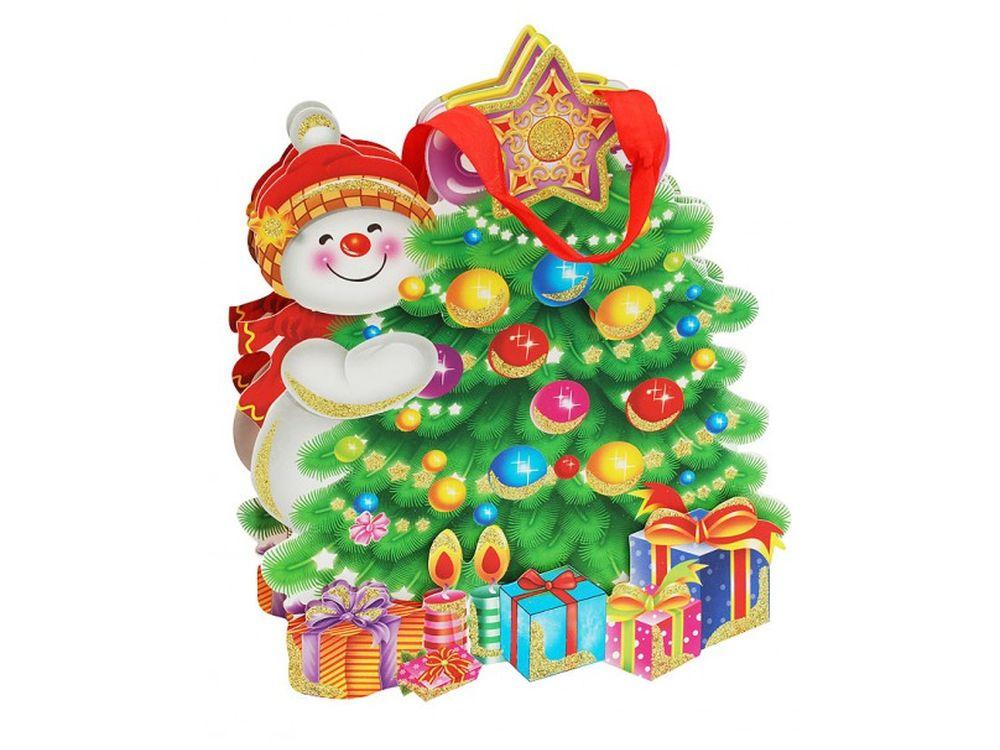 Пакет «Снеговик и елка»Подарочные пакеты<br><br><br>Артикул: 1490-SB<br>Размер: 26х26х8 см