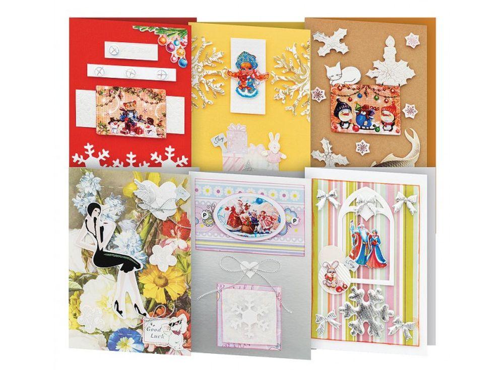 Набор из 6-ти открыток «Снежинки»Наборы для создания открыток<br>Набор для создания 6-ти открыток «Снежинки»:<br> <br> - 6 заготовок для открыток размером - 11,5х17 см,<br>    - 6 конвертов,<br> - листочки скрапбумаги, наклейки, готовые поздравления,<br>    - клеевые подушечки,<br>    - декоративные элементы: вырубка из бумаги, ле...<br><br>Артикул: 245-SB<br>Размер: 11,5x17 см