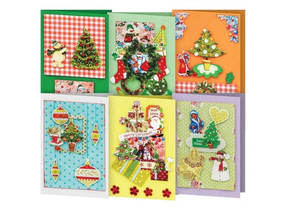 Набор из 6-ти открыток «Волшебный лес»Наборы для создания открыток<br>Набор для создания 6-ти открыток «Волшебный лес»:<br> <br> - 6 заготовок для открыток размером - 11,5х17 см,<br>    - 6 конвертов,<br> - листочки скрапбумаги, наклейки, готовые поздравления,<br>    - клеевые подушечки,<br>    - декоративные элементы: вырубка из бумаг...<br><br>Артикул: 246-SB<br>Размер: 11,5x17 см
