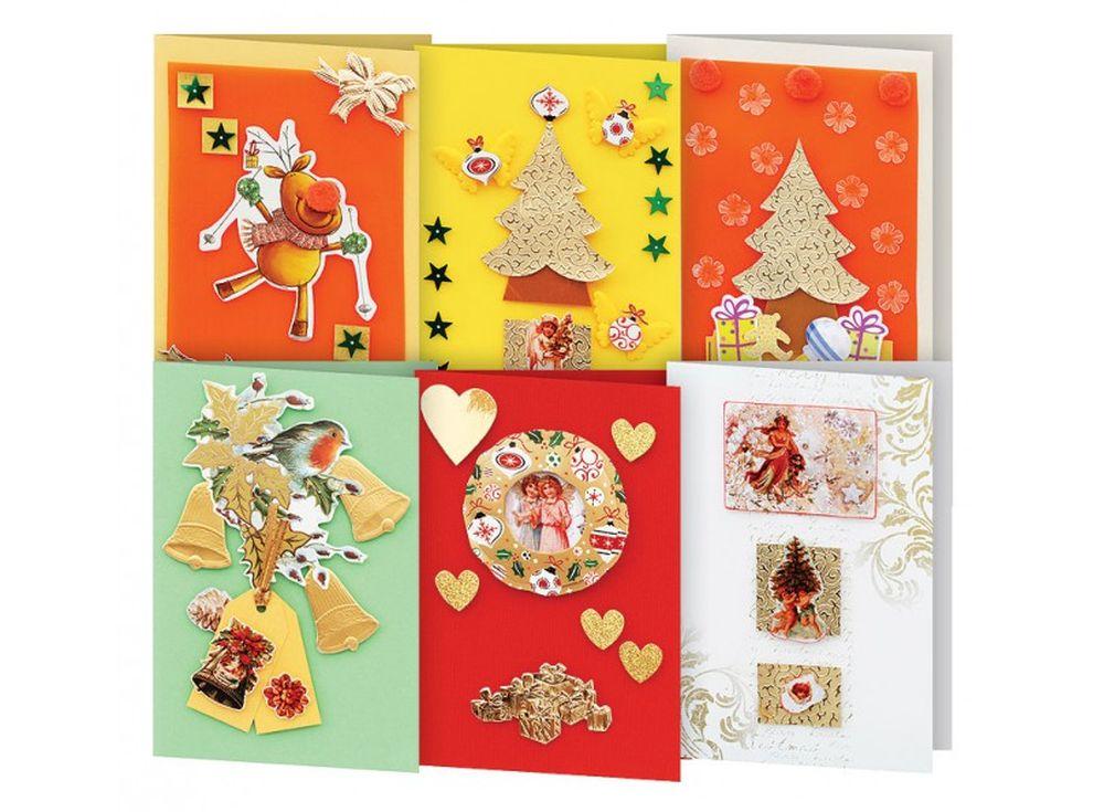 Набор из 6-ти открыток «Новогодняя сказка»Наборы для создания открыток<br>Набор для создания 6-ти открыток «Снежинки»:<br> <br> - 6 заготовок для открыток размером - 11,5х17 см,<br>    - 6 конвертов,<br> - листочки скрапбумаги, наклейки, готовые поздравления,<br>    - клеевые подушечки,<br>    - декоративные элементы: вырубка из бумаги, ле...<br><br>Артикул: 247-SB<br>Размер: 11,5x17 см