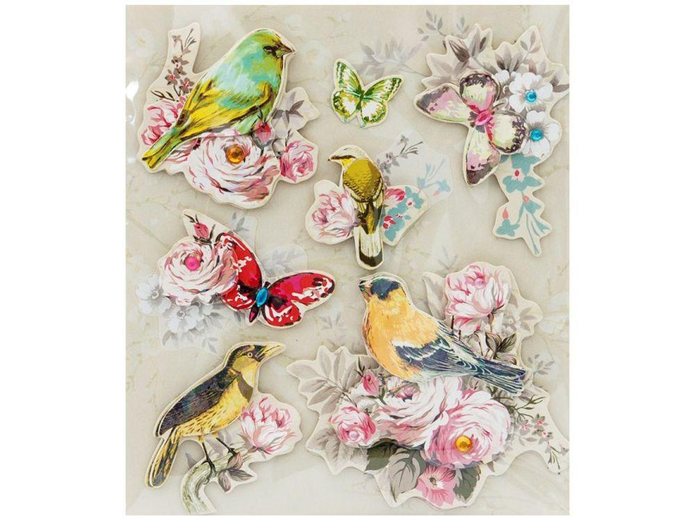 3D-стикеры «Райские птицы»Бумага и материалы для скрапбукинга<br><br><br>Артикул: 2570-SB<br>Размер: 12x14 см