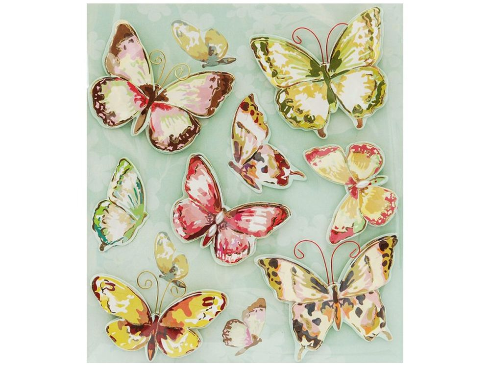 3D-стикеры «Полет бабочки»Бумага и материалы для скрапбукинга<br><br><br>Артикул: 2574-SB<br>Размер: 12х14 см