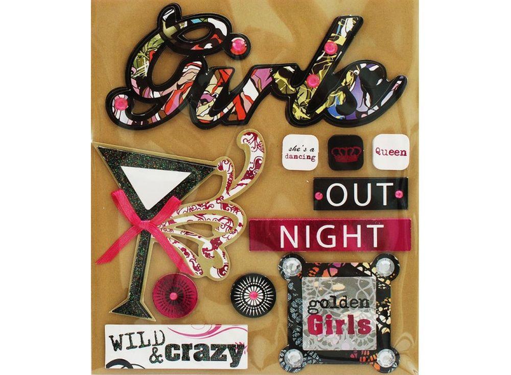 3D-стикеры «Золотая девушка»Бумага и материалы для скрапбукинга<br><br><br>Артикул: 2592-SB<br>Размер: 12x14 см