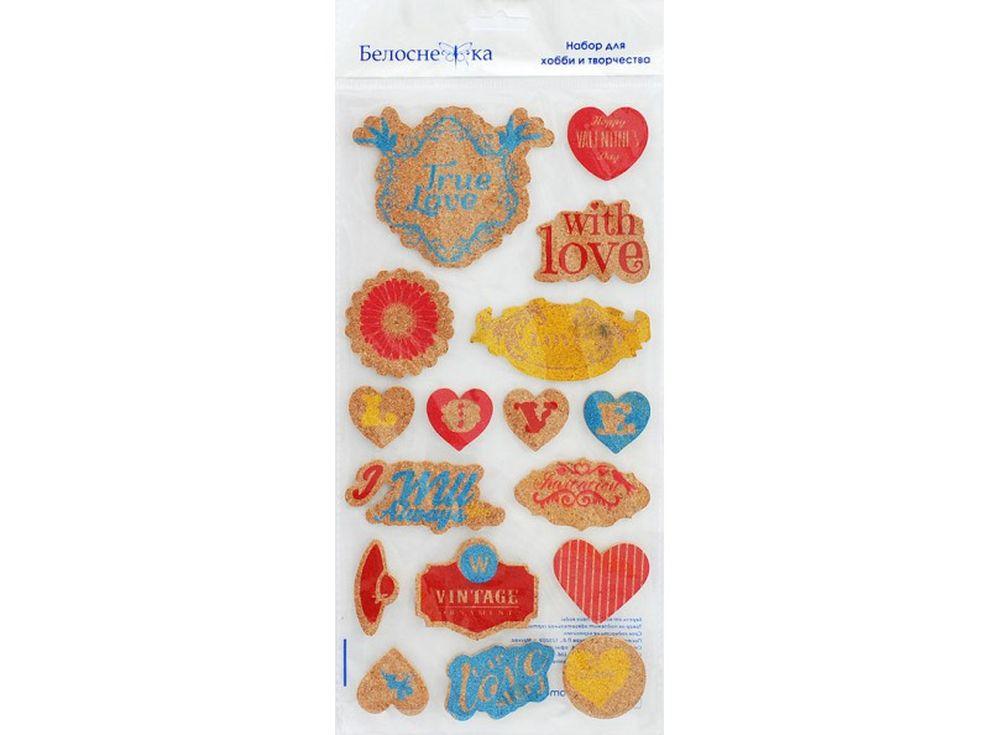 Пробковые стикеры «Цветные сердечки»Бумага и материалы для скрапбукинга<br><br><br>Артикул: 2711-SB<br>Размер: 15x30 см<br>Количество шт: 17<br>Материал: Пробка