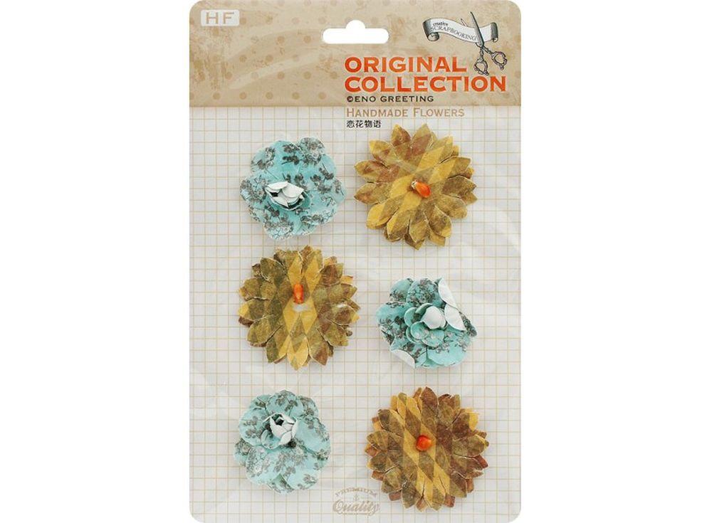 Бумажные цветы «Цветная галька»Бумага и материалы для скрапбукинга<br><br><br>Артикул: 2813-SB<br>Размер: 11x13,5 см<br>Количество шт: 6<br>Материал: Бумага