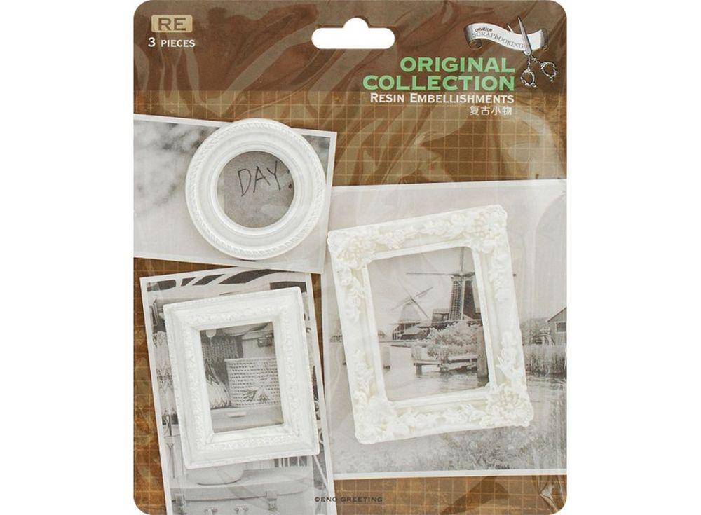 Объемные элементы «Рамки для фотографий»Бумага и материалы для скрапбукинга<br><br><br>Артикул: 2951-SB<br>Размер: 12x12,5 см<br>Количество шт: 3<br>Материал: Полимерная смола