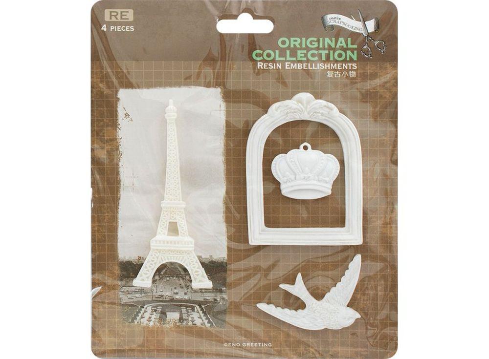 Объемные элементы «Окно в Париж»Бумага и материалы для скрапбукинга<br><br><br>Артикул: 2952-SB<br>Размер: 12x12,5 см<br>Количество шт: 6<br>Материал: Полимерная смола