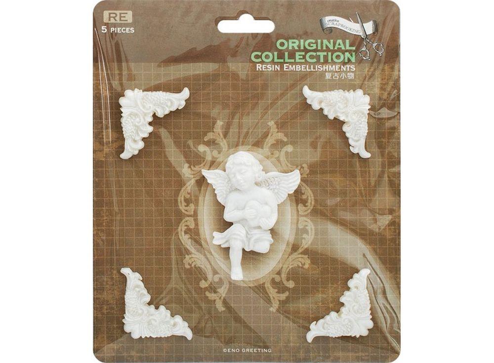 Объемные элементы «Небесный ангел»Бумага и материалы для скрапбукинга<br><br><br>Артикул: 2954-SB<br>Размер: 12x12,5 см<br>Количество шт: 5<br>Материал: Полимерная смола