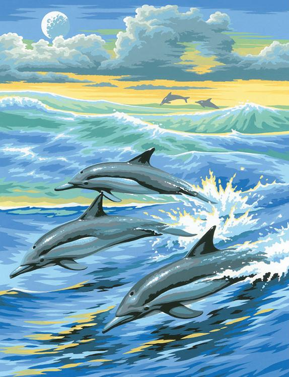 Картина по номерам «Дельфины»KSG<br><br><br>Артикул: 31<br>Основа: Картон<br>Сложность: легкие<br>Размер: 23х30 см<br>Количество цветов: 8<br>Техника рисования: Со смешиванием красок