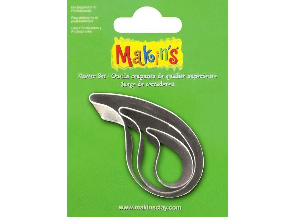Набор каттеров Makins «Капля воды»Инструменты для лепки<br><br><br>Артикул: 36031<br>Размер: 20 мм, 30 мм, 40 мм<br>Количество: 3 шт.