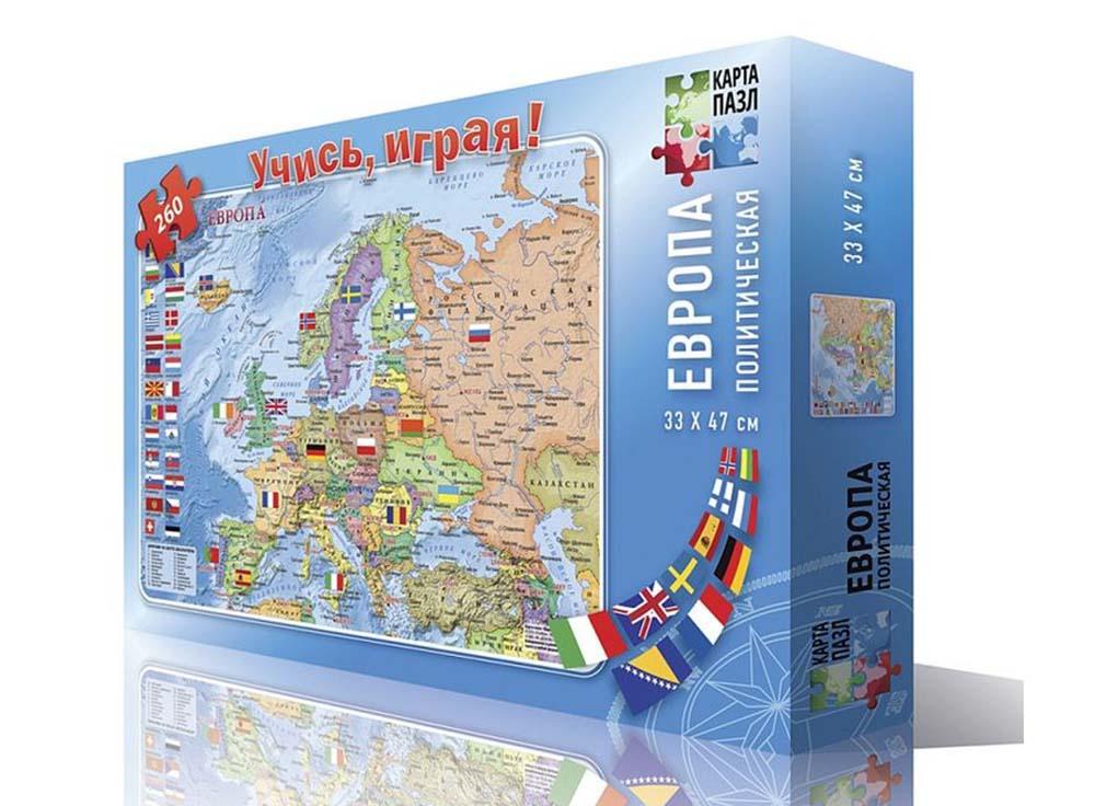 Карта-пазл «Европа политическая»Геодом<br><br><br>Артикул: 4607177452159<br>Основа: Картон<br>Размер: 33x47 см