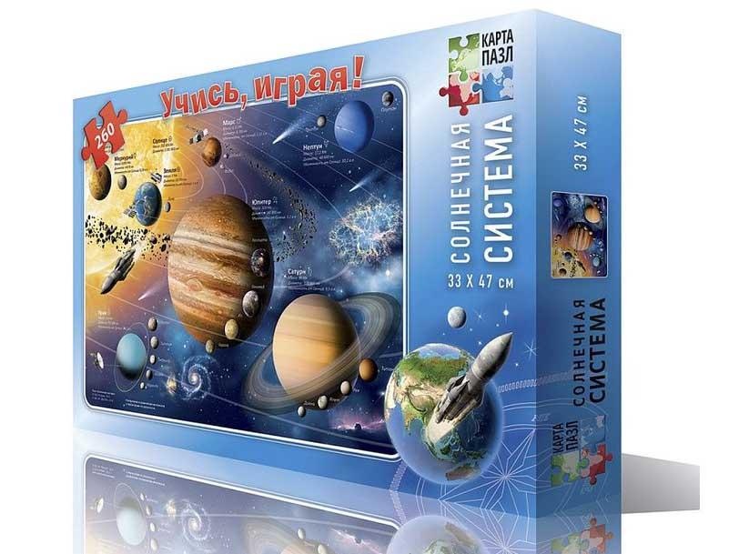 Карта-пазл «Солнечная система»Геодом<br><br><br>Артикул: 4607177452210<br>Основа: Картон<br>Размер: 33x47 см