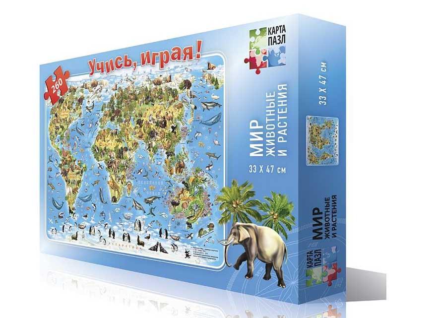 Карта-пазл «Мир - животные и растения»Геодом<br><br><br>Артикул: 4607177452265<br>Основа: Картон<br>Размер: 33x47 см