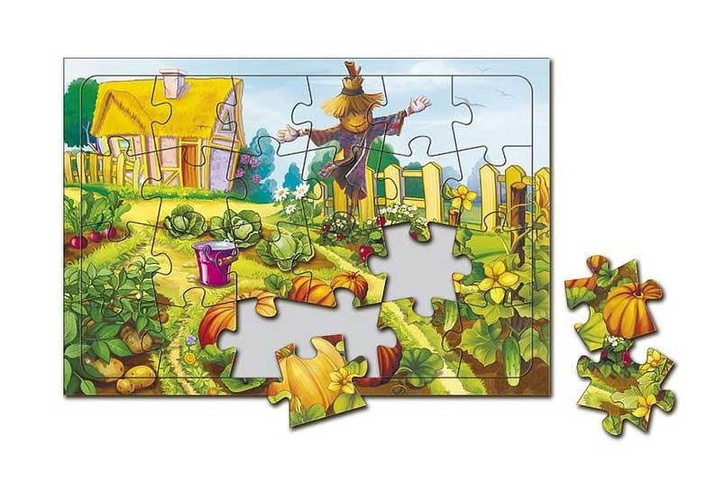 Пазл листовой на подложке «В огороде» Татьяны КокоскерииГеодом<br><br><br>Артикул: 4607177452739<br>Основа: Картон<br>Размер: 20x28,5 см