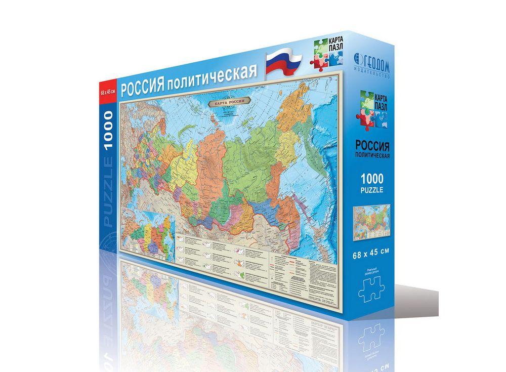 Карта-пазл «Россия политическая»Геодом<br><br><br>Артикул: 4607177452920<br>Основа: Картон<br>Размер: 45x68 см