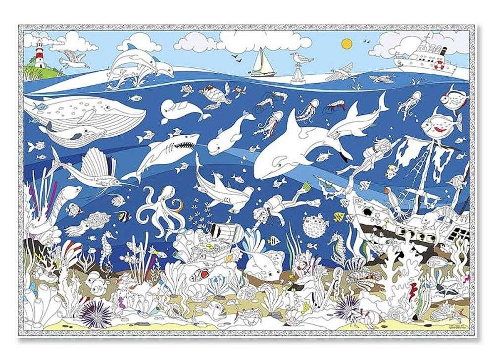 карта раскраска подводный мир