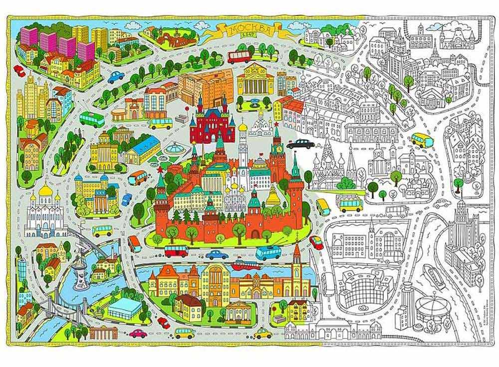 Карта-раскраска «Москва»Карты-раскраски<br><br><br>Артикул: 4607177453378<br>Основа: Плотная офсетная бумага<br>Размер: 101x69 см